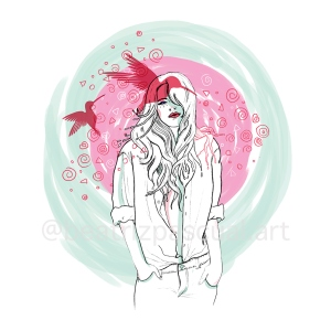 A dreamer with pink hummingbirds on her head