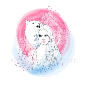 Enigmatic woman and polar bear