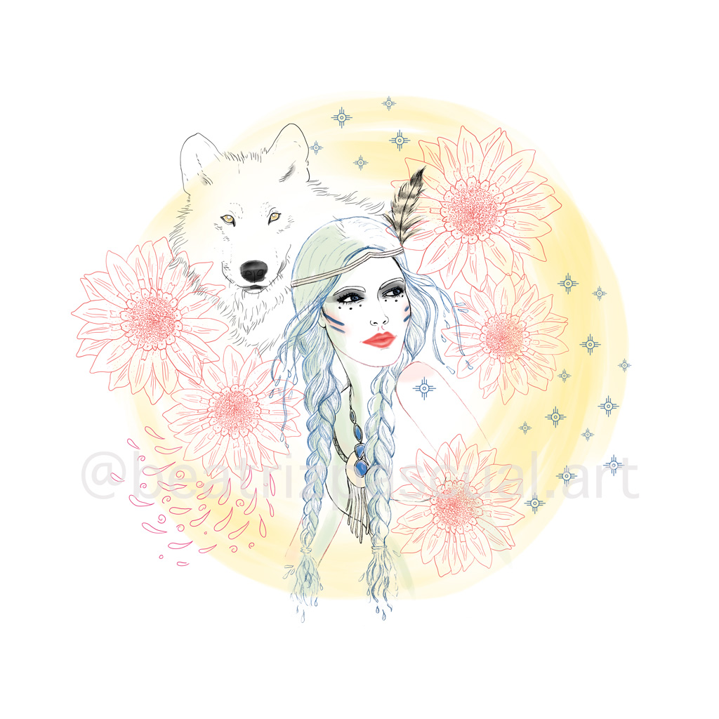 Wolf and Indian girl, flowers and the Indian sign of happiness