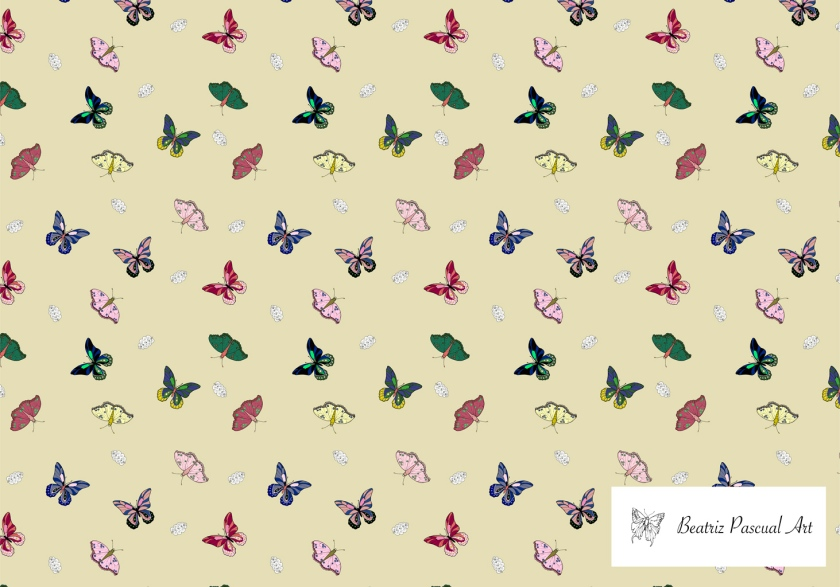 Colorful butterflies with a beige background