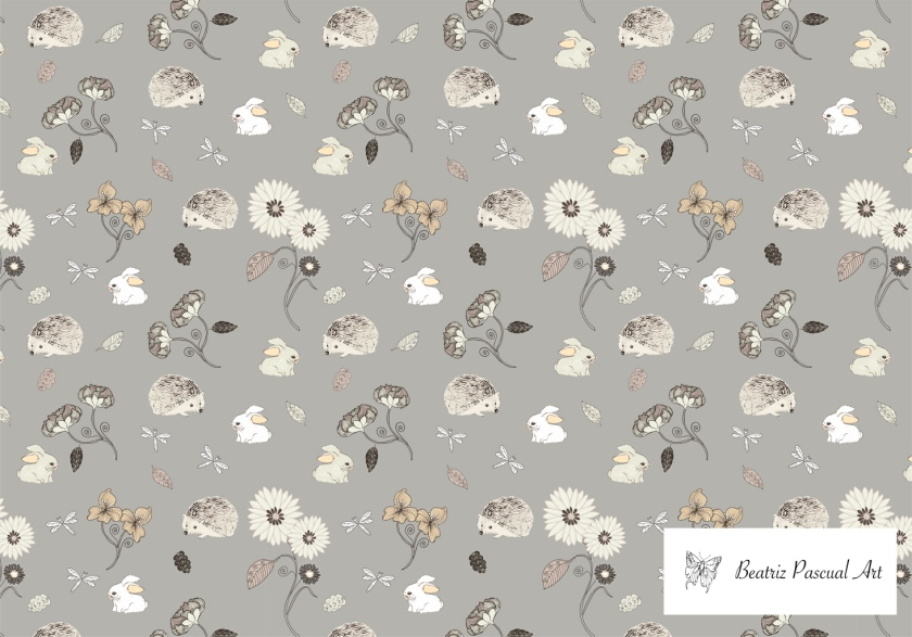 Hedgehogs and bunnies pattern with a grey background