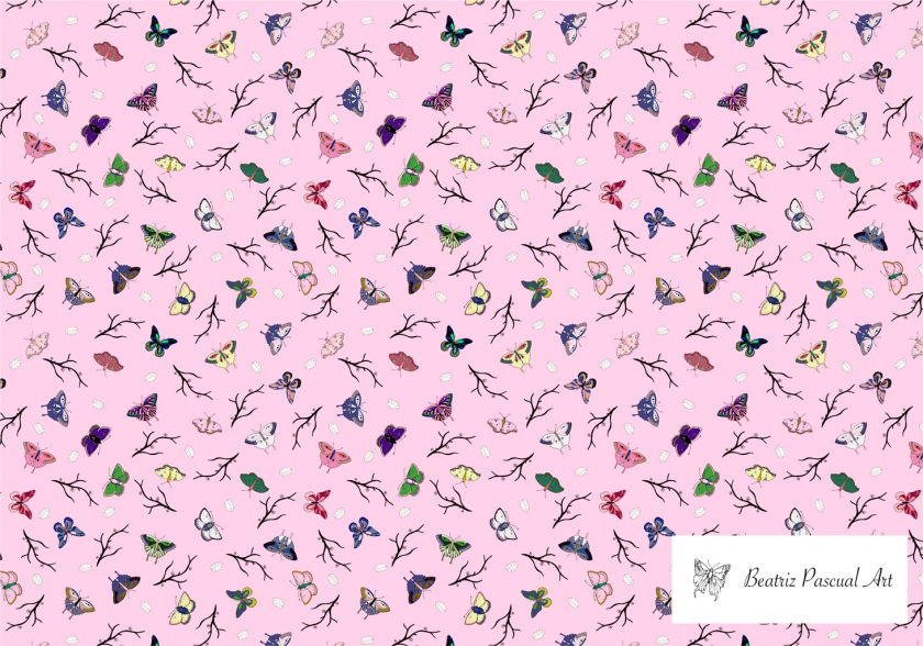 Butterflies, leaves and brunches pattern