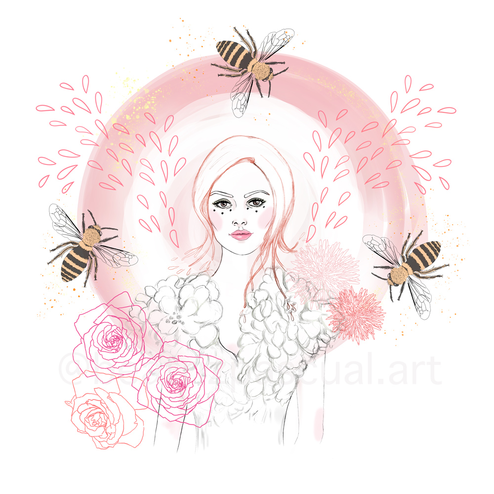 A girl is standing with three bees around her, with flowers
