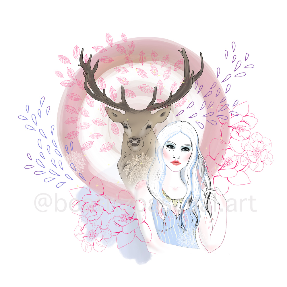 A kind girl and a deer with magnolia flowers