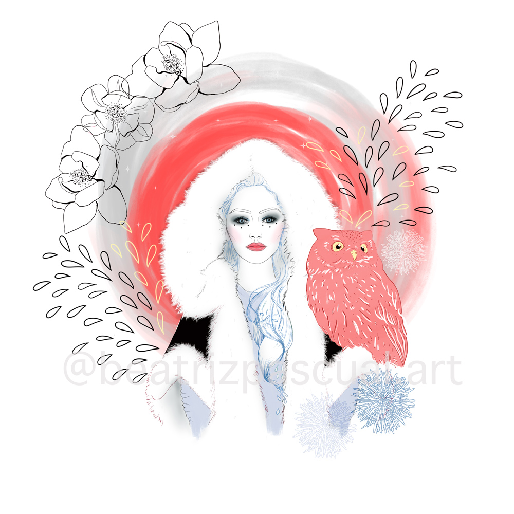 A girl holds a pink owl. Wisdom is the main value of this piece